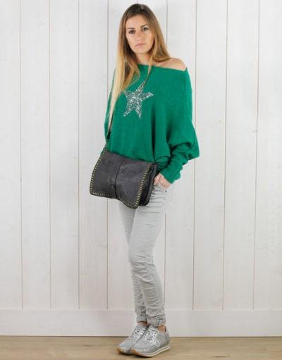 Pull vert green, manches chauve souris étoile sequin