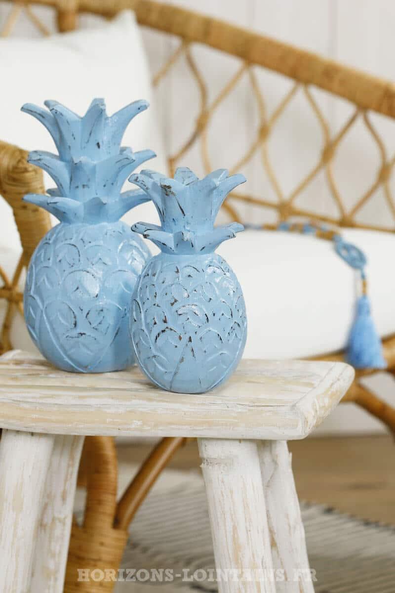 trio ananas bois couleur bleu déco intérieure