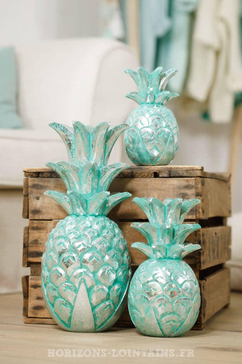 Ananas bois turquoise c rus argent petit mod le for Petit ananas deco