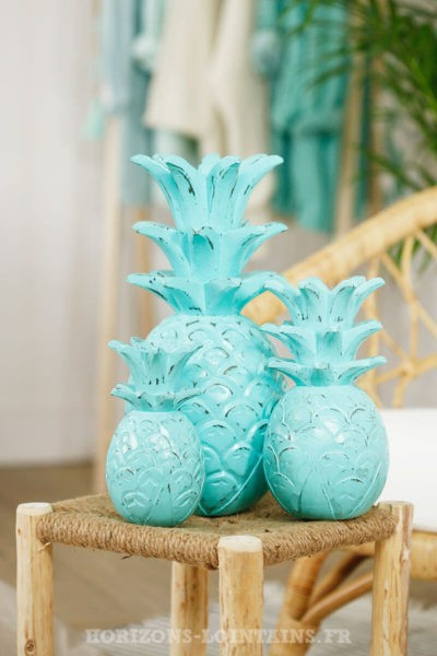 trio ananas bois couleur vert eau turquoise déco intérieure