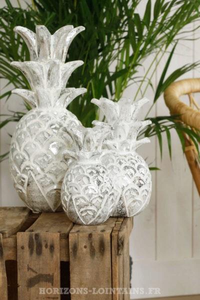 trois ananas blanc cérusé argenté