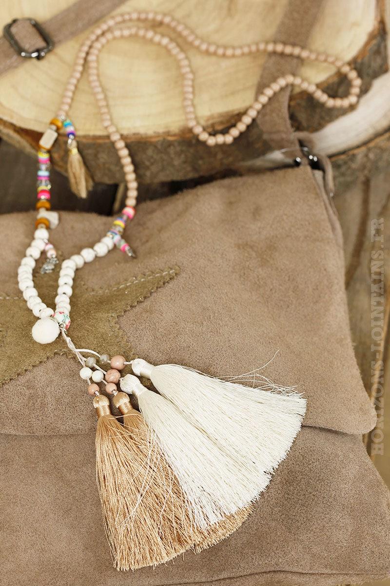 Collier perles écrues taupe trio pompons beige