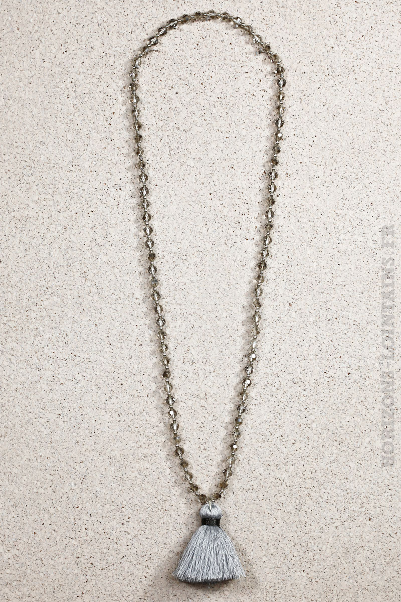 Facettes Horizons Pompon Perles Collier Lointains Gris vbfY76gy