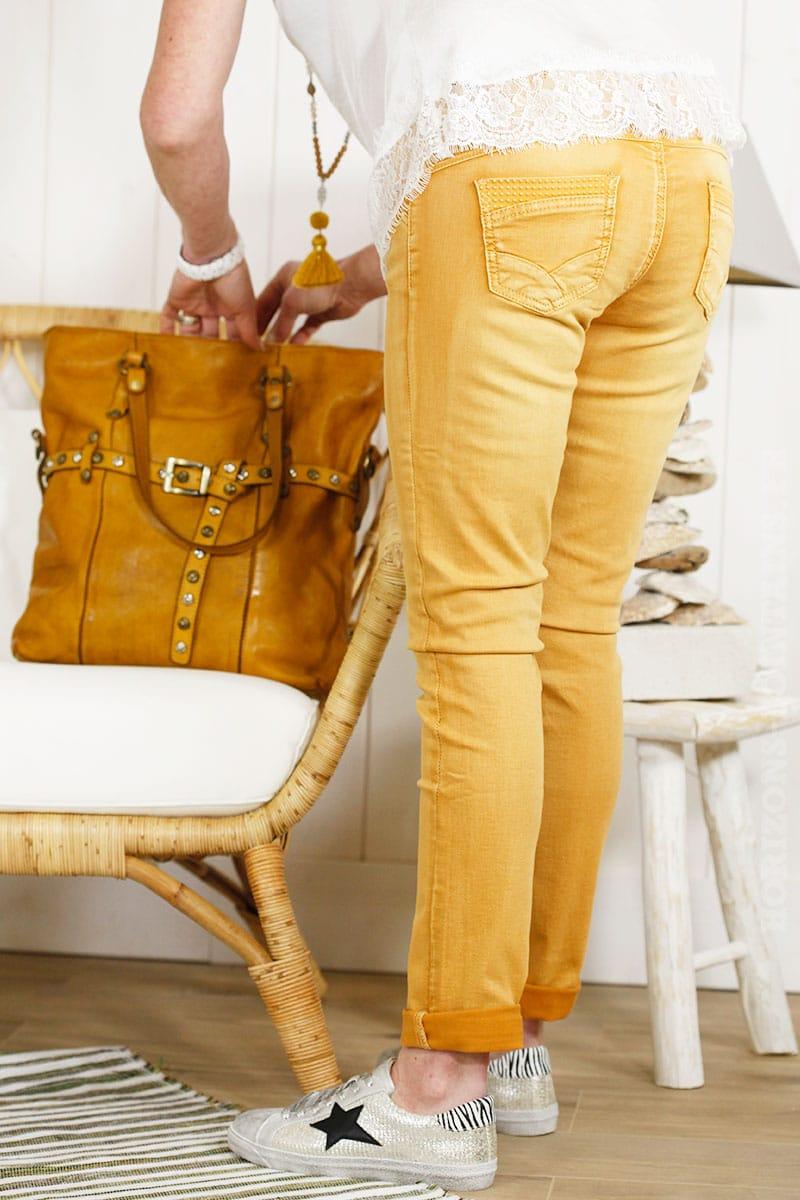 Jean jaune moutarde coupe slim