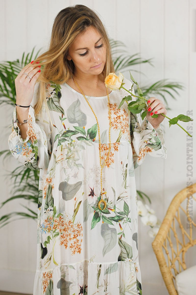 Robe longue blanche imprimé fleuri
