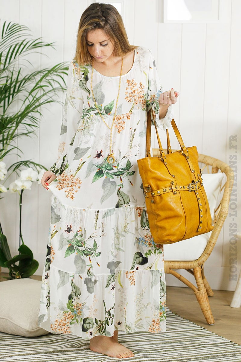 Robe longue blanche imprime fleuri