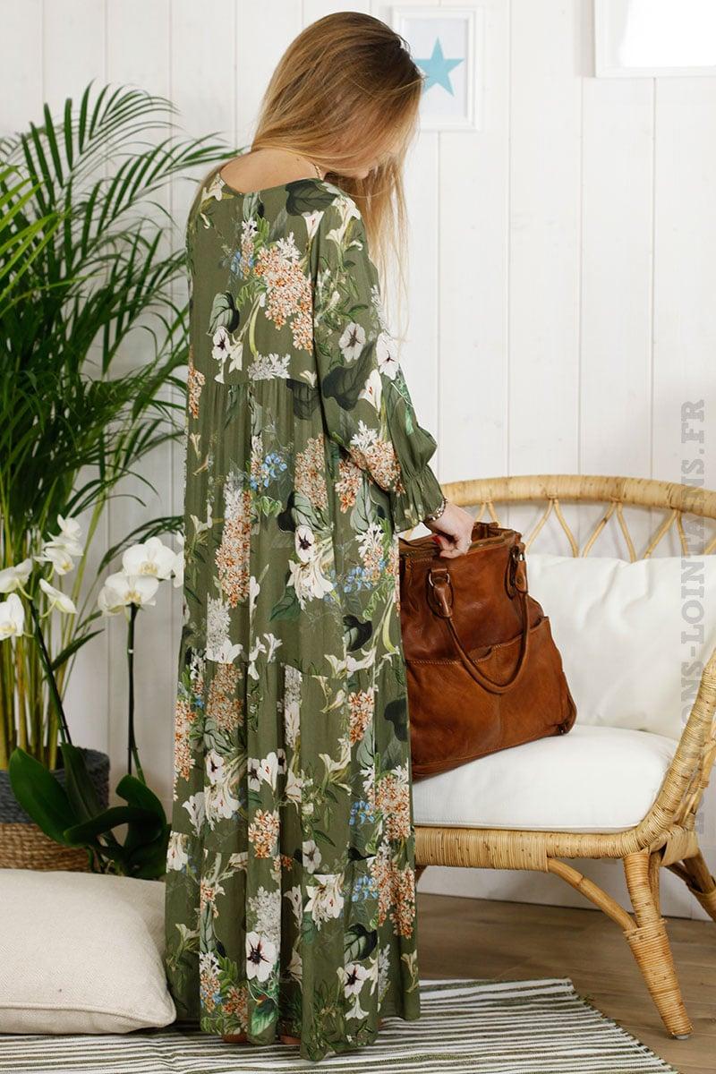 Robe longue verte kaki imprimé fleuri