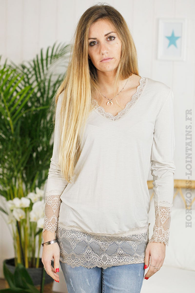 Sous pull taupe manches longues dentelle