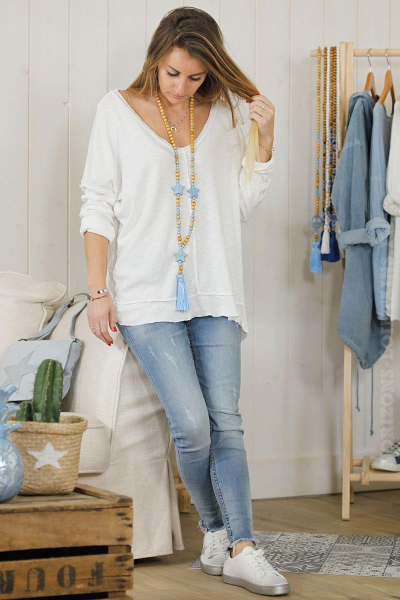 Tee shirt loose manches longues blanc