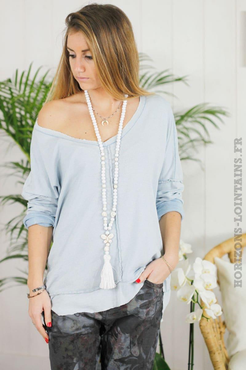 Tee shirt loose manches longues bleu