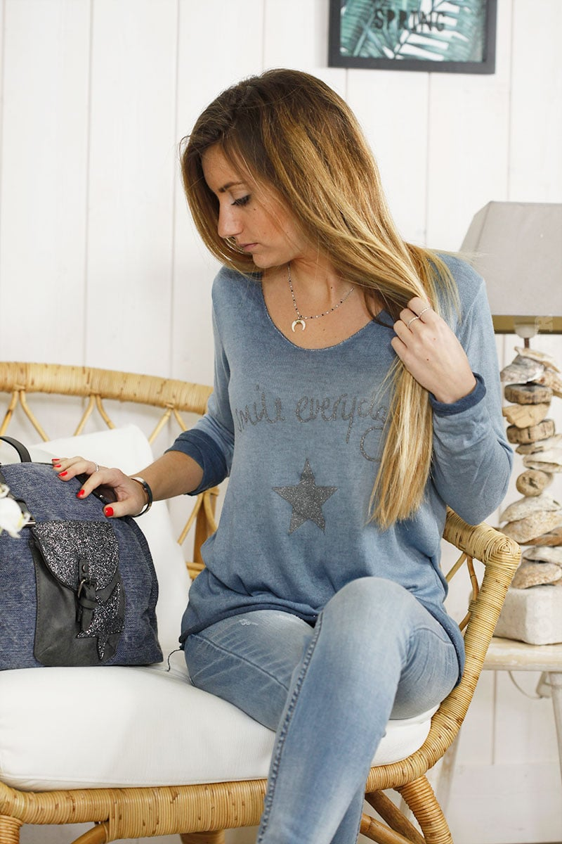 Top manches longues smile everyday bleu jean