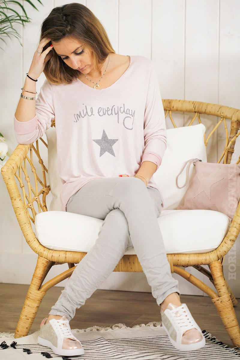 Top manches longues smile everyday rose poudré