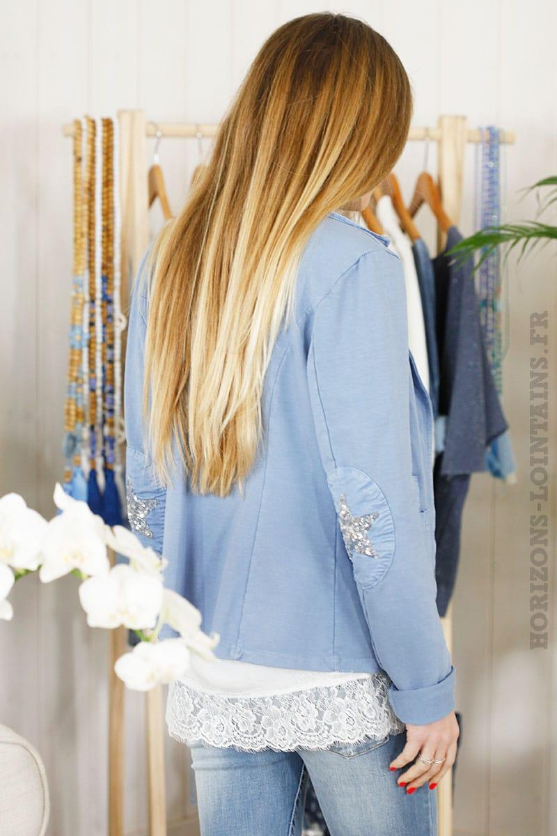 blaser bleu jersey étoile brillante coudes