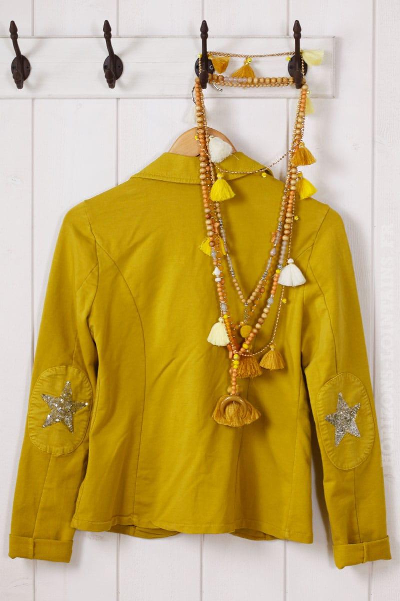 Blazer moutarde jersey toile sequins coudes horizons lointains - Blazer jaune moutarde ...