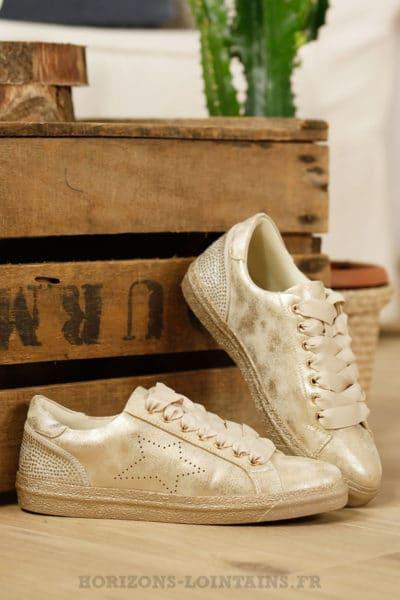 Baskets vintage gold, étoile, strass aux talon