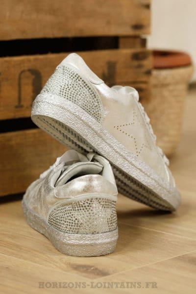 Baskets vintage silver, étoile, strass aux talon