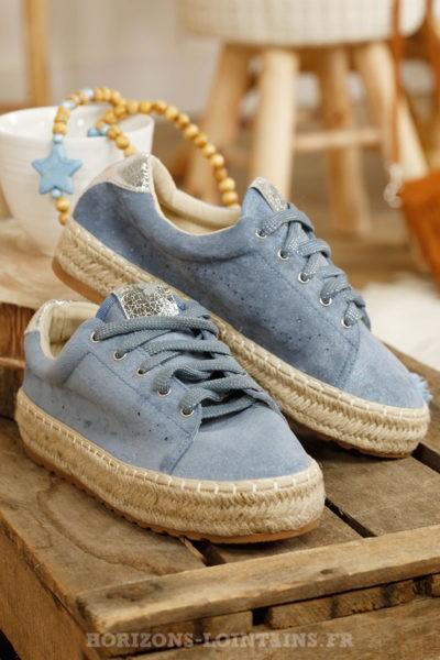 Baskets « espadrilles » en suédine compensées bleu jean