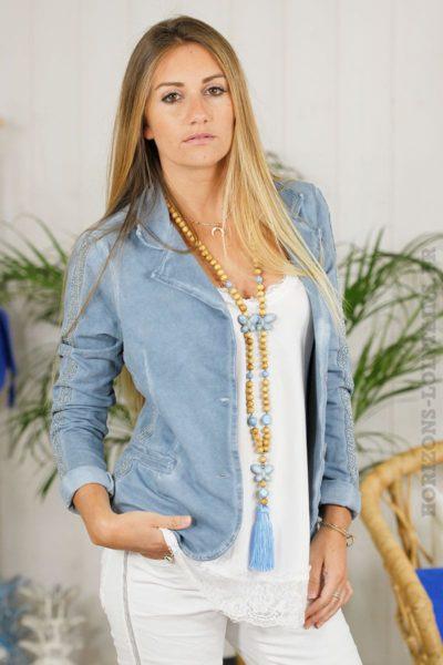 Blazer-bleu-jean,-bandes-argentées-B05
