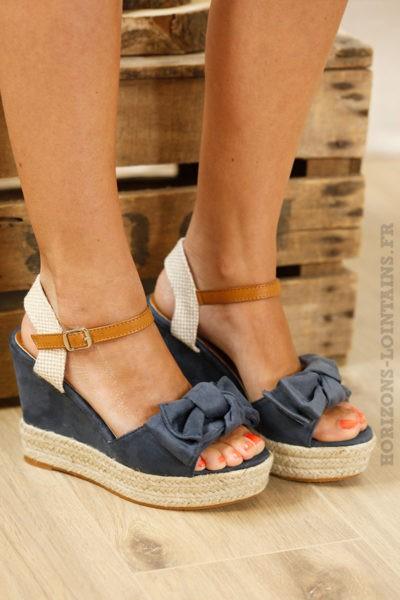 Chaussures compensées bleues, nœud