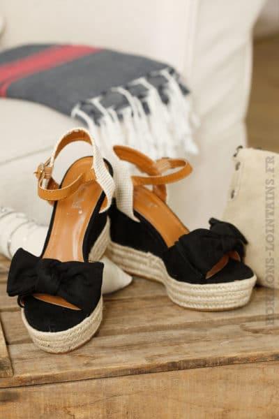 Chaussures compensées noires, nœud