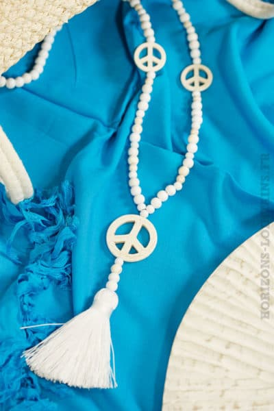 Collier perles bois peaces blanc