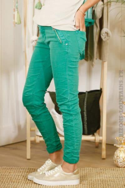 Jean vert poches zip - MALIBU