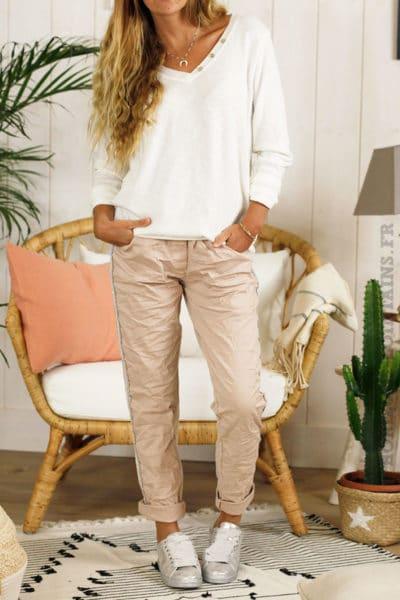 Pantalon confort lacet rose poudré