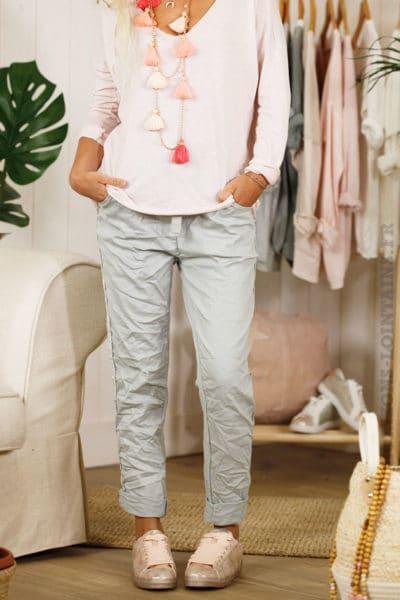 Pantalon confort lacet, gris clair, bande brillante sur le côté