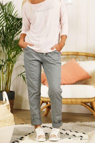 Pantalon confort lacet, gris foncé, bande brillante sur le côté