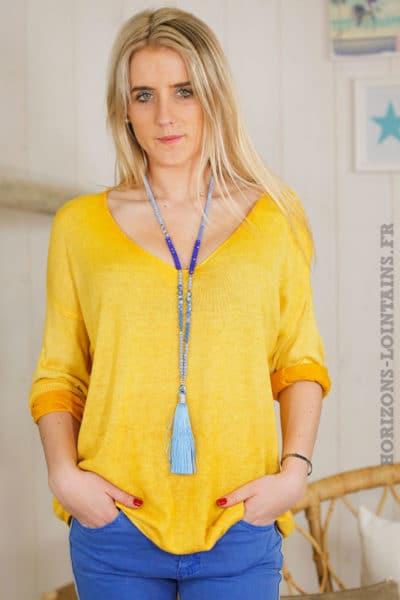 Pull fin léger printemps jaune moutarde basique colv B028