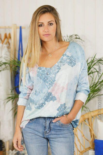 Pull-imprimé-bleu-à-perles-B46-3