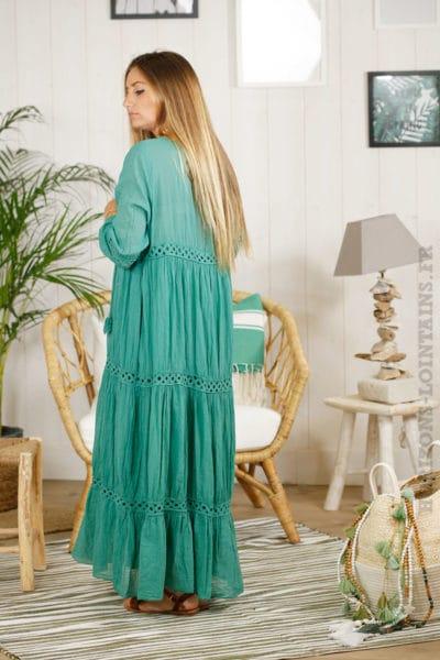 Robe longue bohème verte, broderies