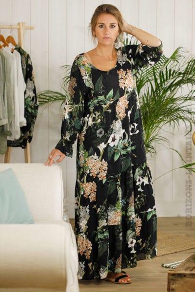 Robe-longue-noire,-imprimé-fleuri-B01
