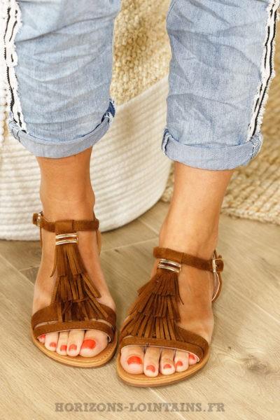 Sandales camel à franges, 3 rangs B13