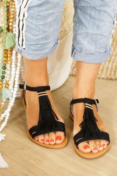 Sandales noires à franges, 3 rangs