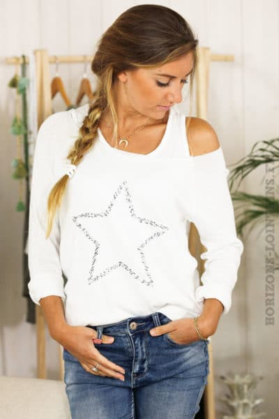 Top 2 en 1 manches longues étoile brodée blanc