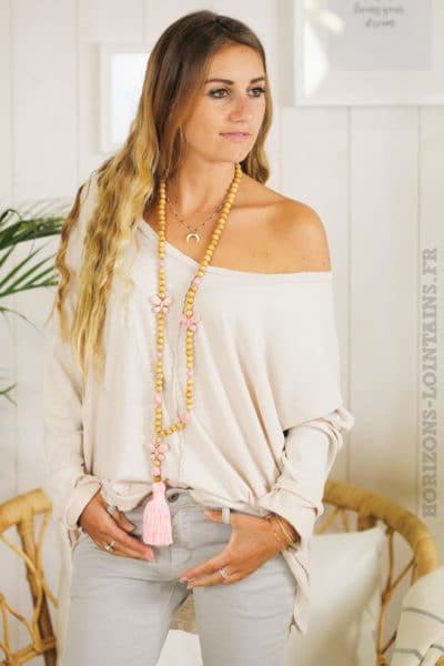 Tee shirt loose manches longues rose poudré
