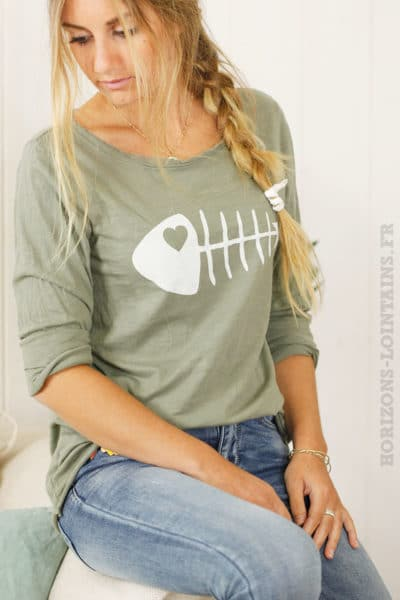 T-shirt kaki arête de poisson blanche, manches longues