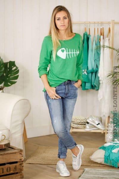 T-shirt vert arête de poisson blanche, manches longues