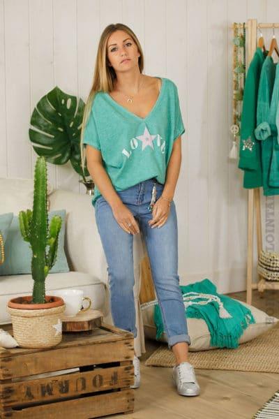 T-shirt vert love étoile