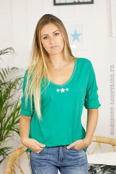 t-shirt MANCHES-LONGUES-3-ETOILES-VERT-3