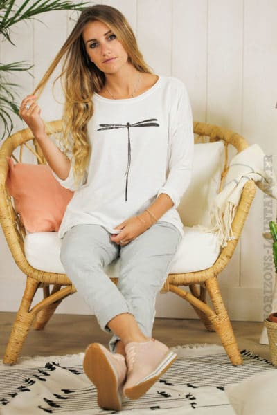 Top jersey blanc manches longues libellule
