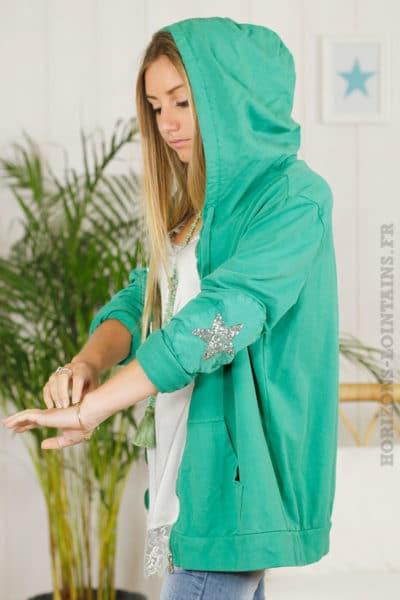 Veste-sweat-verte-mi-longue,-zip,-étoile-en-sequins-aux-coudes-B08-3