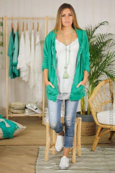 Veste-sweat-verte-mi-longue,-zip,-étoile-en-sequins-aux-coudes-B08