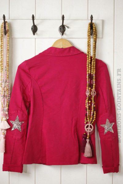 blaser rose framboise en jersey, étoile brillante aux coudes