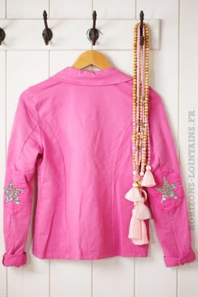 blaser rose fushia en jersey, étoile brillante aux coudes