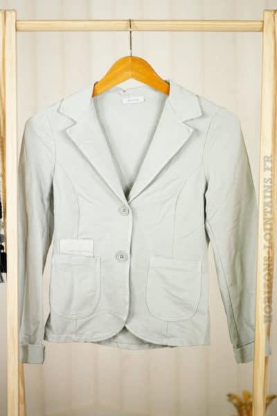 veste blazer gris jersey étoile sequins coudes