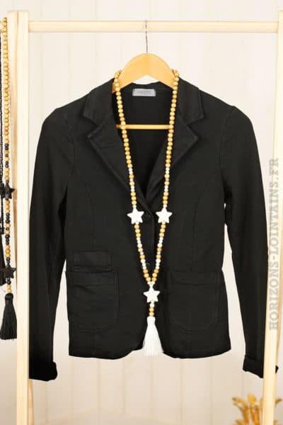 veste blazer noir jersey étoile sequins coudes