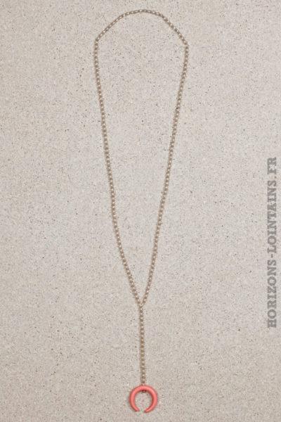 collier petites perles rose corne croissant lune malabar