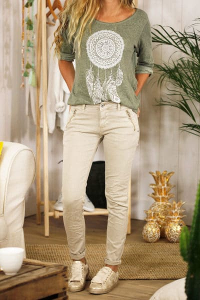 jean taupe clair poches zip look